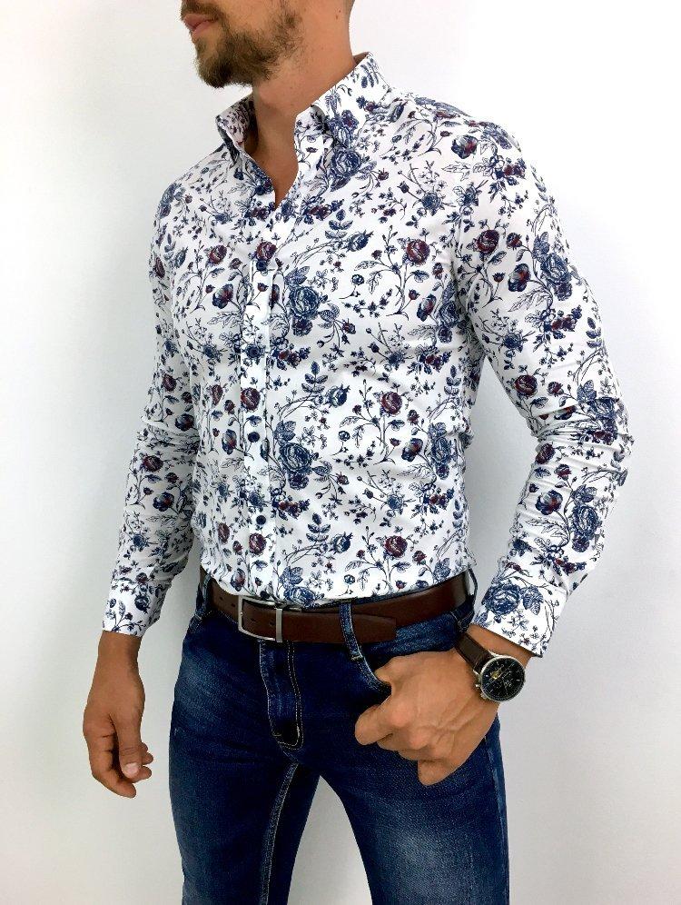 Koszula męska w kwiaty Flowers 1 White mystiqbutik.pl  I5KtZ