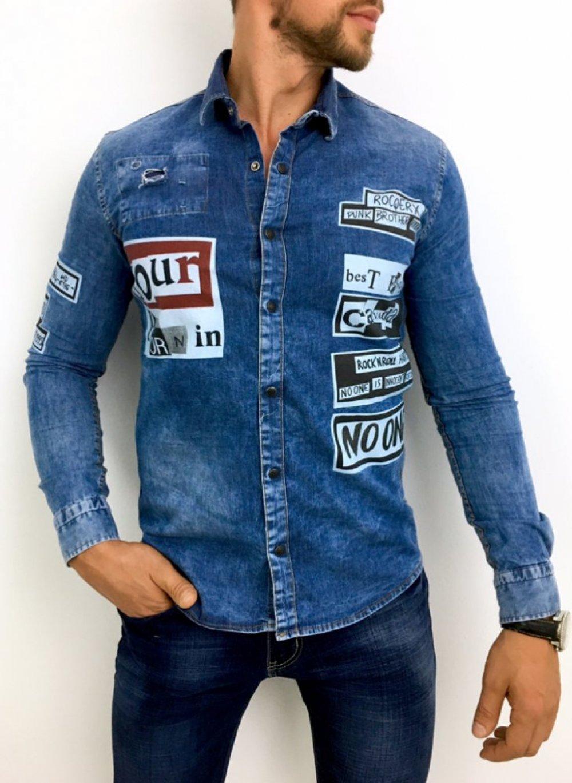 Koszula męska jasny jeans z nadrukiem H004 mystiqbutik.pl