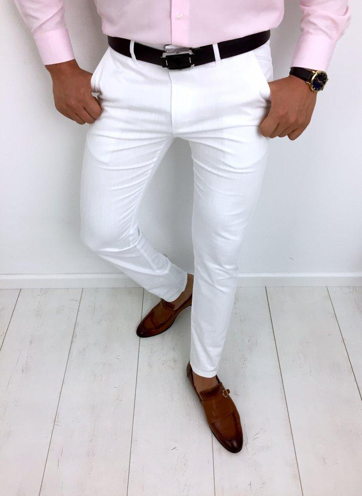 Spodnie Meskie Biale White 3 Mystiqbutik Pl