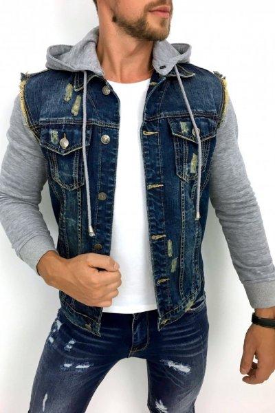 Kurtka Jeans z dresowymi rękawami N017