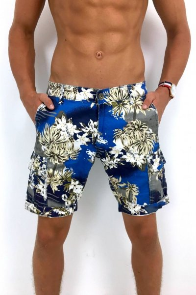 Spodenki męskie materiałowe Flowers - blue