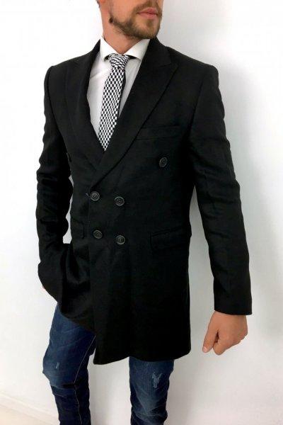 Płaszcz czarny 2 rzędowy