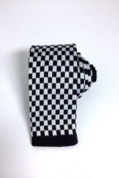 Krawat typu KNIT czarno biały