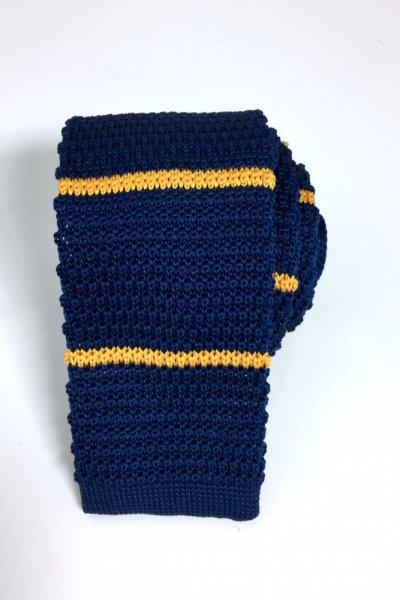 Krawat typu KNIT granat + żółte paski