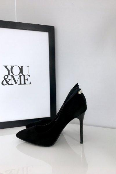 Pantofle na szpilce - black pearls