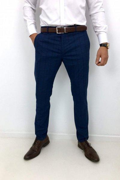 Spodnie materiałowe krata H03