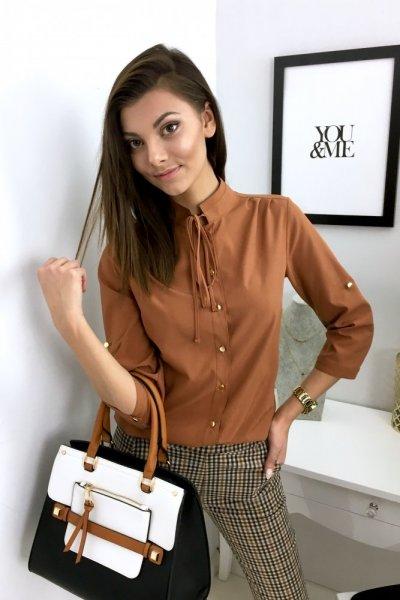 Bluzka koszulowa VIOLA - camel