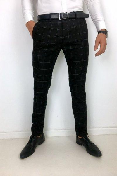 Spodnie materiałowe czarne + biała krata H1