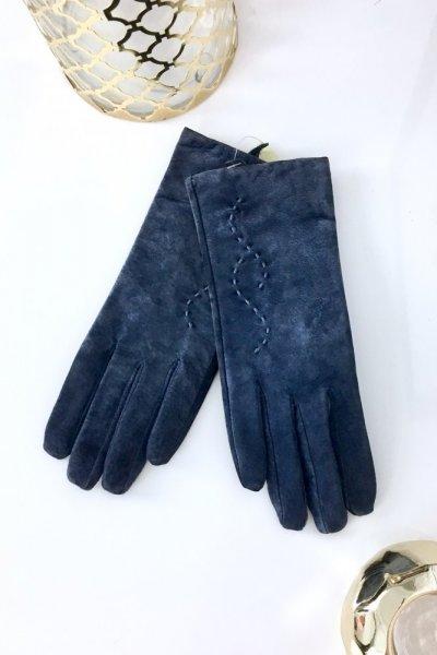 Rękawiczki skórzane zamsz - niebieskie