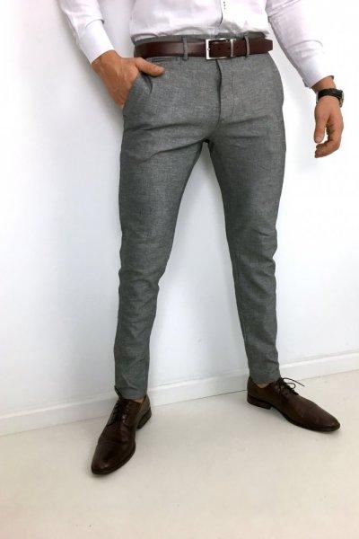 Spodnie męskie materiałowe - szare Huzar