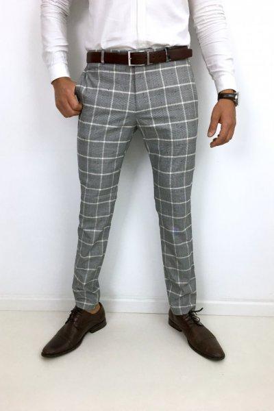 Spodnie materiałowe szare w kratę H6