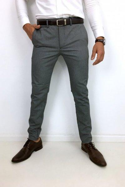 Spodnie męskie materiałowe drobny wzór H7