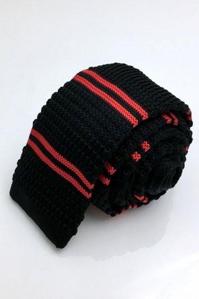 Krawat typu knot czarny + czerwone paski