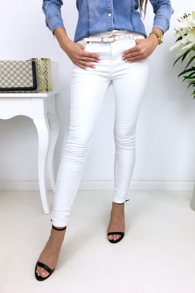 Spodnie jeansy/skinny z falbanką white