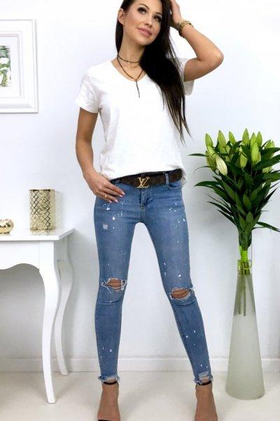 Spodnie jeansowe rurki/skinny - paint