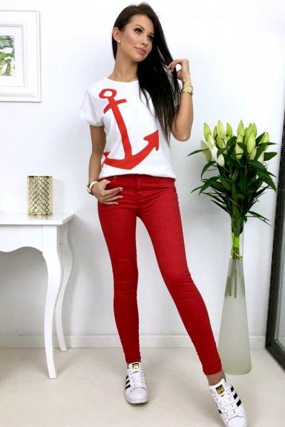 Spodnie jeansy DROME LC313-4 - red