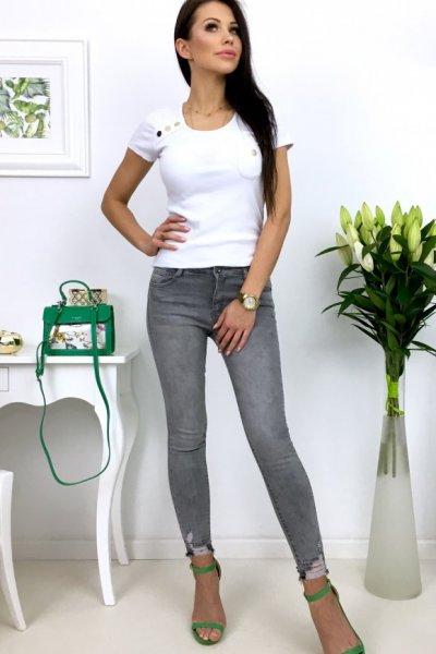 Spodnie jeansy z przetarciami - grey