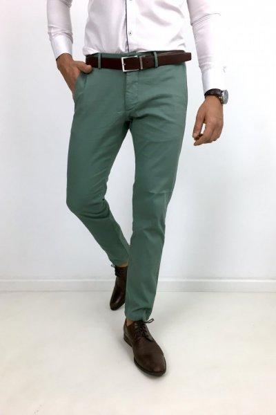 Spodnie materiałowe zielone H13