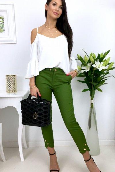 Spodnie cygaretki H8891 button - zielone