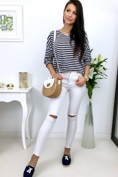 Spodnie jeansy SKINNY z rozcięciami - white