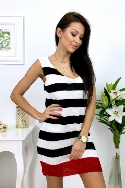 Sukienka/tunika w pasy - black/white/red