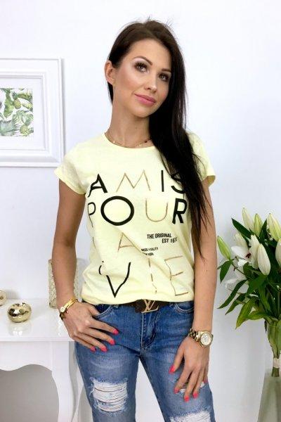 T - shirt AMOUR - żółty