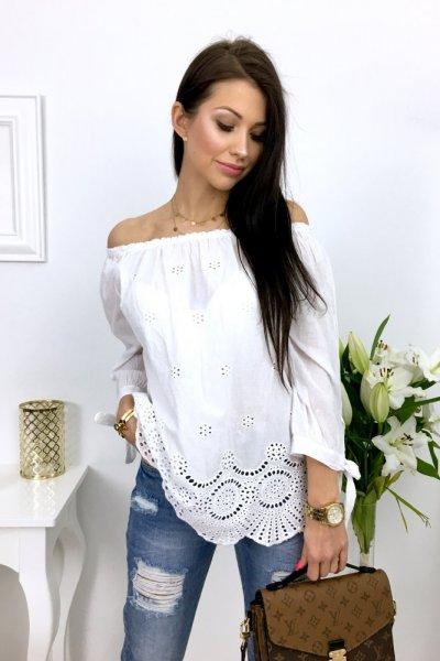 Bluzka ażurowa BEAUTY - white