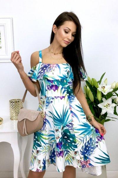 Sukienka MARYLIN - liście blue