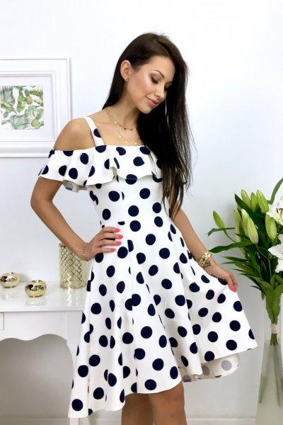 Sukienka MARYLIN grochy - white
