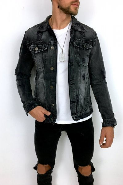 Kurtka jeans czarna N022