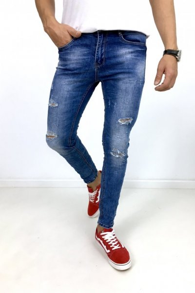 Spodnie jeans z przetarciami TO-2711
