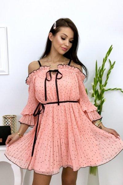 Sukienka plisowana SWEETI - łosoś