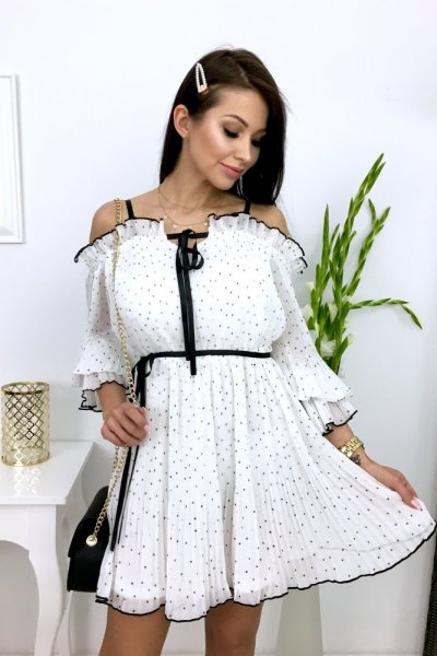 Sukienka plisowana SWEETI - white