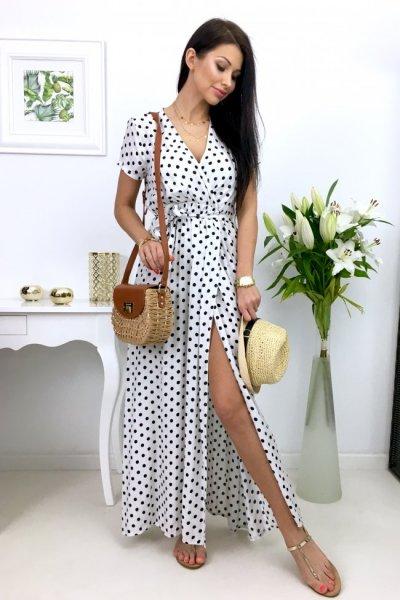 Sukienka MAXI groszki - white