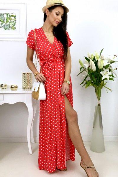 Sukienka MAXI groszki - red
