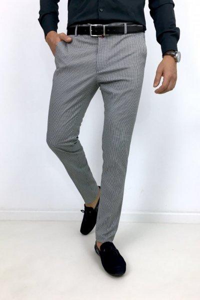 Spodnie męskie materiałowe w pepitkę H14