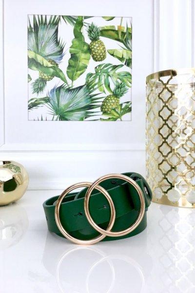 Pasek skórzany RING - green