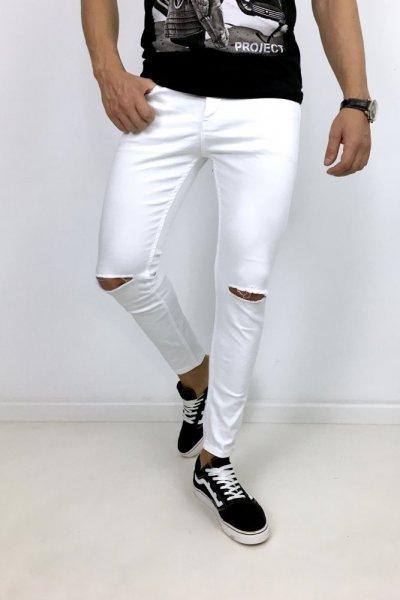 Spodnie białe Huzar z przecięciami