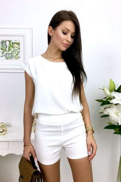 Szorty GOLD BUTTON - white