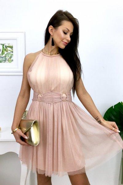 Sukienka SCARLET - pink/beige