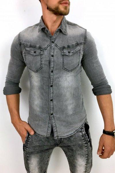 Koszula jeans CA-606 SZARA