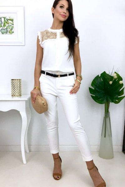 Spodnie cygaretki ( H9053 ) - ecru