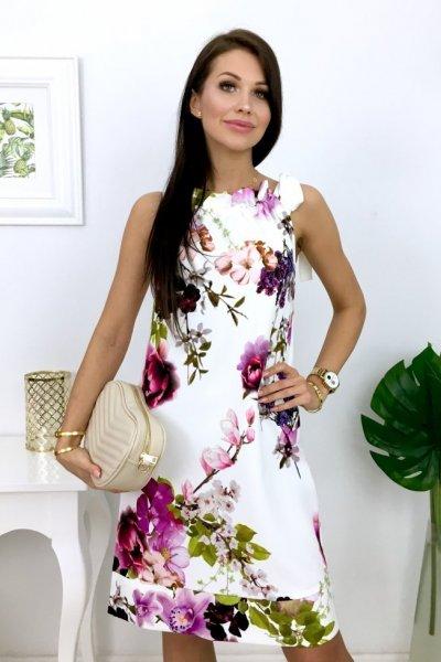 Sukienka TATU flowers - white/violet