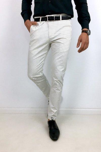 Spodnie męskie materiałowe ecru+ czarna krata H20