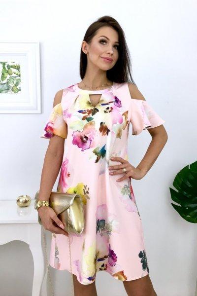 Sukienka LIKKE E09 FLOWERS ( lit.A ) - pink