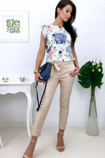 Spodnie cygaretki ( H9053 ) - beige