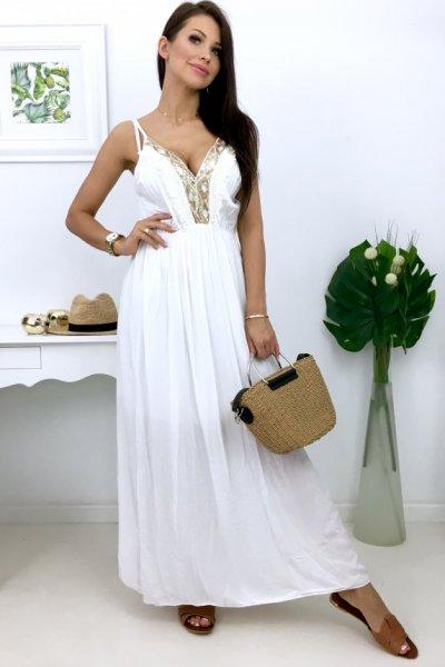 Sukienka BOHO maxi - white