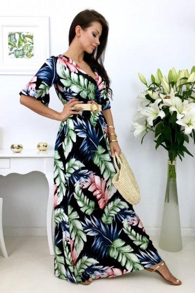 Sukienka AIRISA MAXI liście - czarna