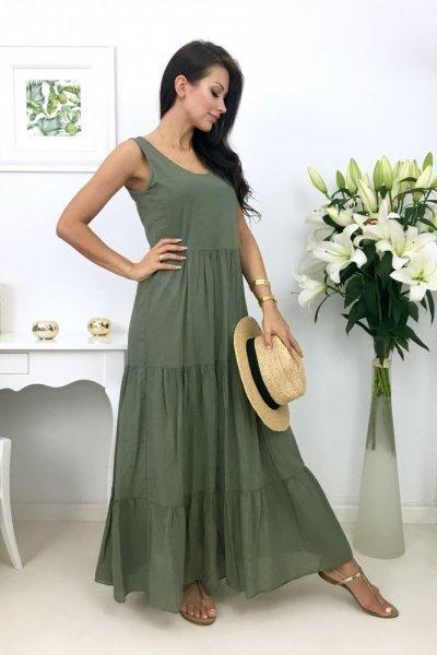 Sukienka MAXI MIAMI - khaki