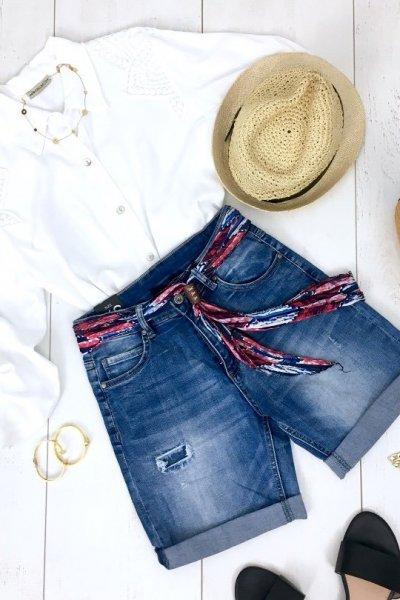 Szorty jeansowe z materiałowym paskiem ( HS-3369 )